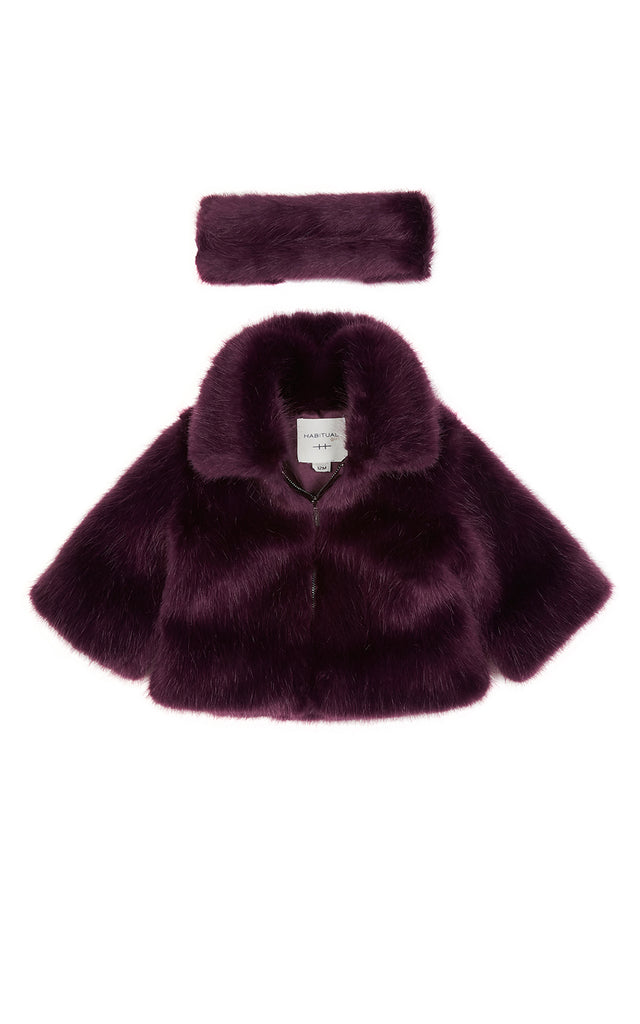 Zoey Faux Fur Jacket With Headband