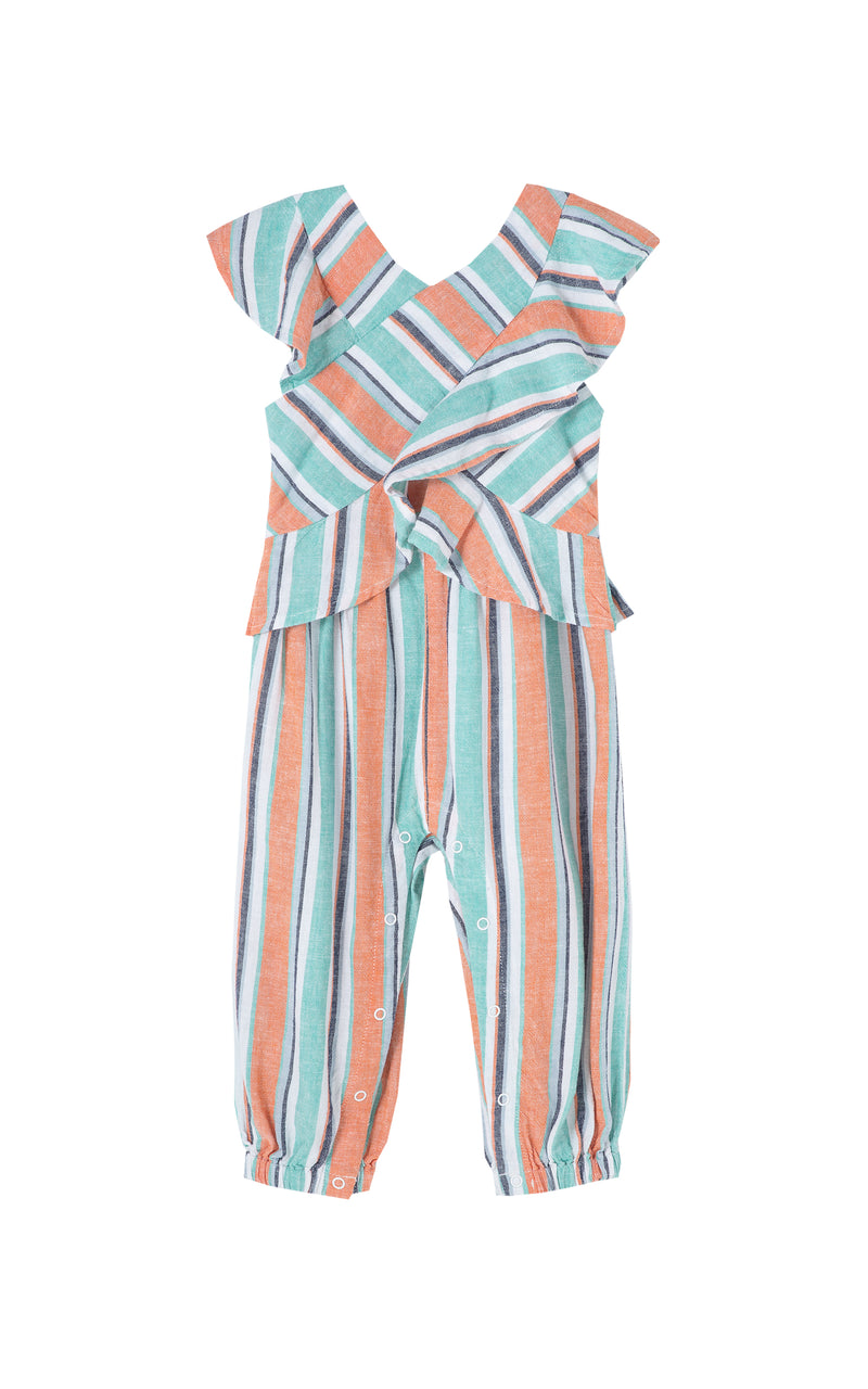 Stripe Ruffle Wrap Jumpsuit | 12-24M