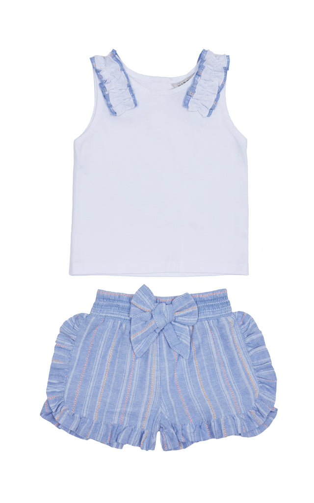 Top with ruffle stripe shorts | 4-6X