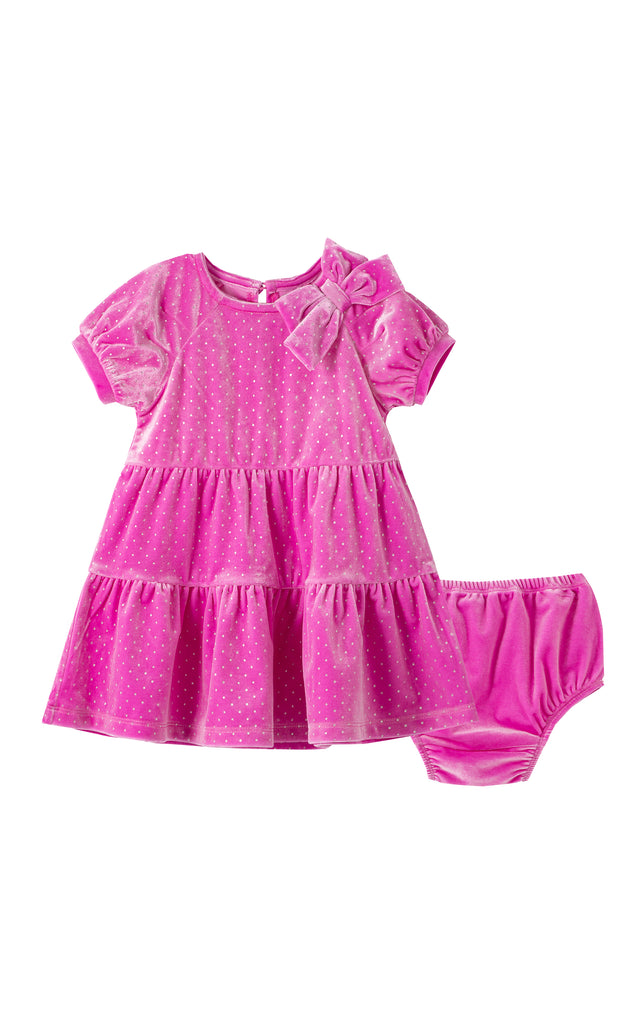 Jasmine Velour Glitter Dot Dress | 12-24M