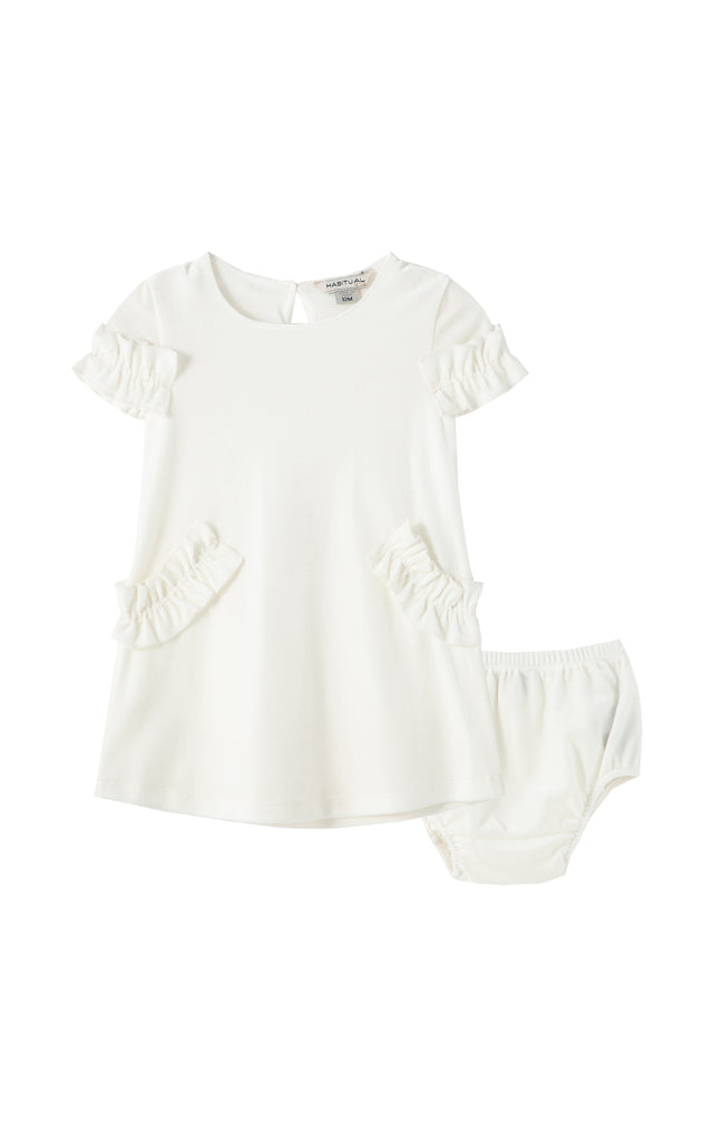 Marilyn Velour Ruffle Dress | 12-24M
