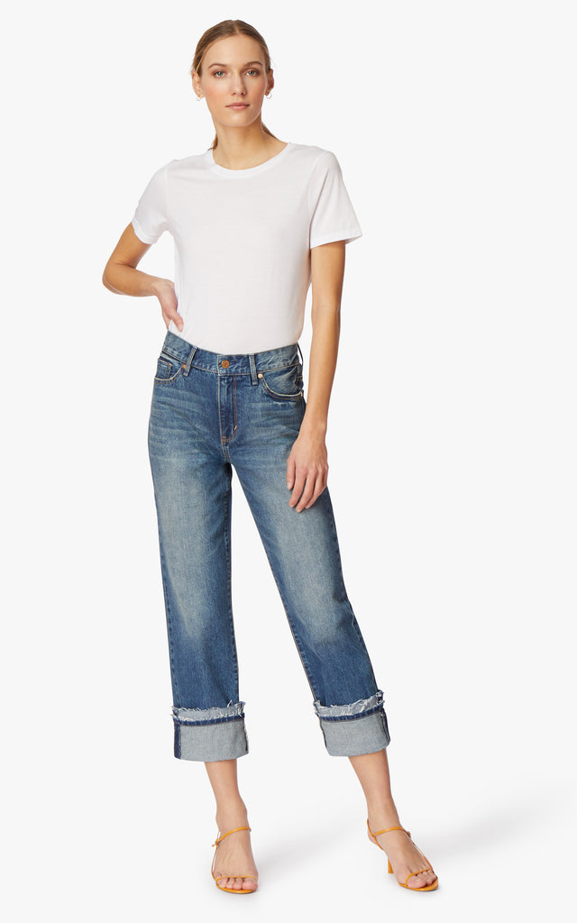Averie Mid-Rise Straight Crop Jeans