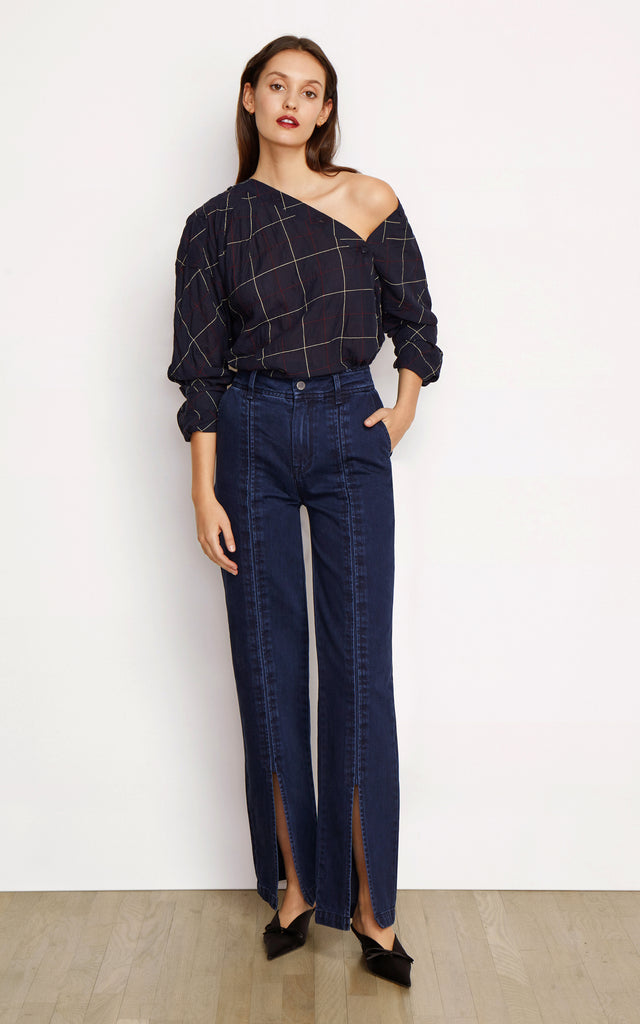 Suri High Rise Slit Front Straight Trousers