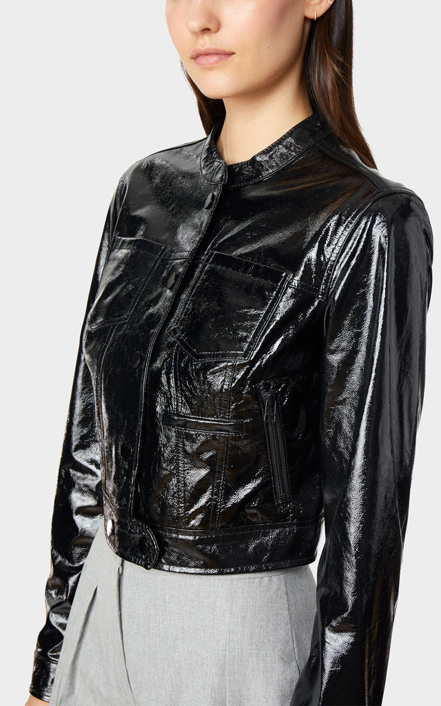 Remy Moto Crinkle Patent Leather Jacket