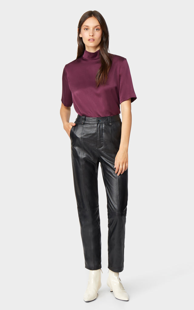 Uma High Rise Leather Seamed Trouser