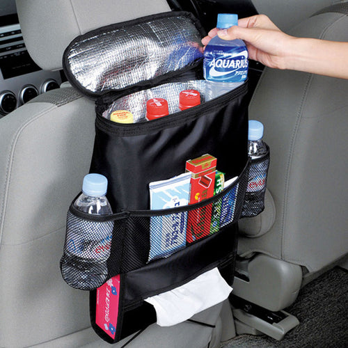 Car Seat Organizer for Insulated food Storage.