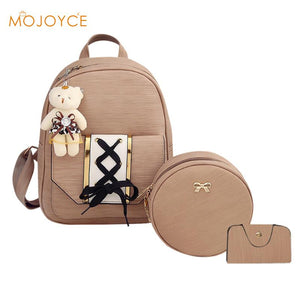 Adorable Ladies Leather Backpack Set 3Pcs