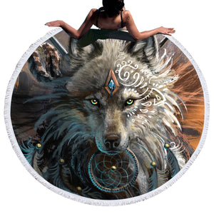 Round Beach Towel Bed Cover Wolf Warrior