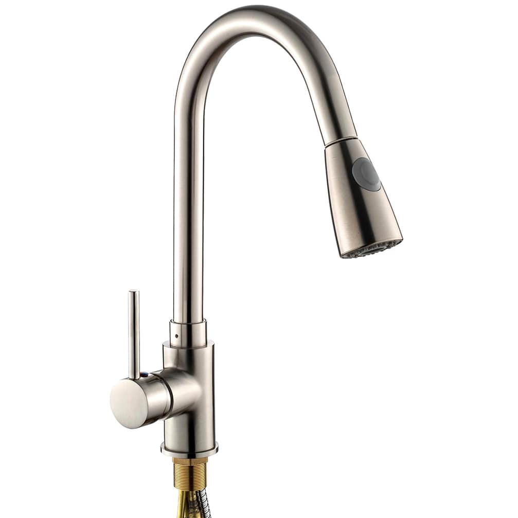 Pull Out Chrome Kitchen Sink Faucet One Handle Spout Spray Swivel