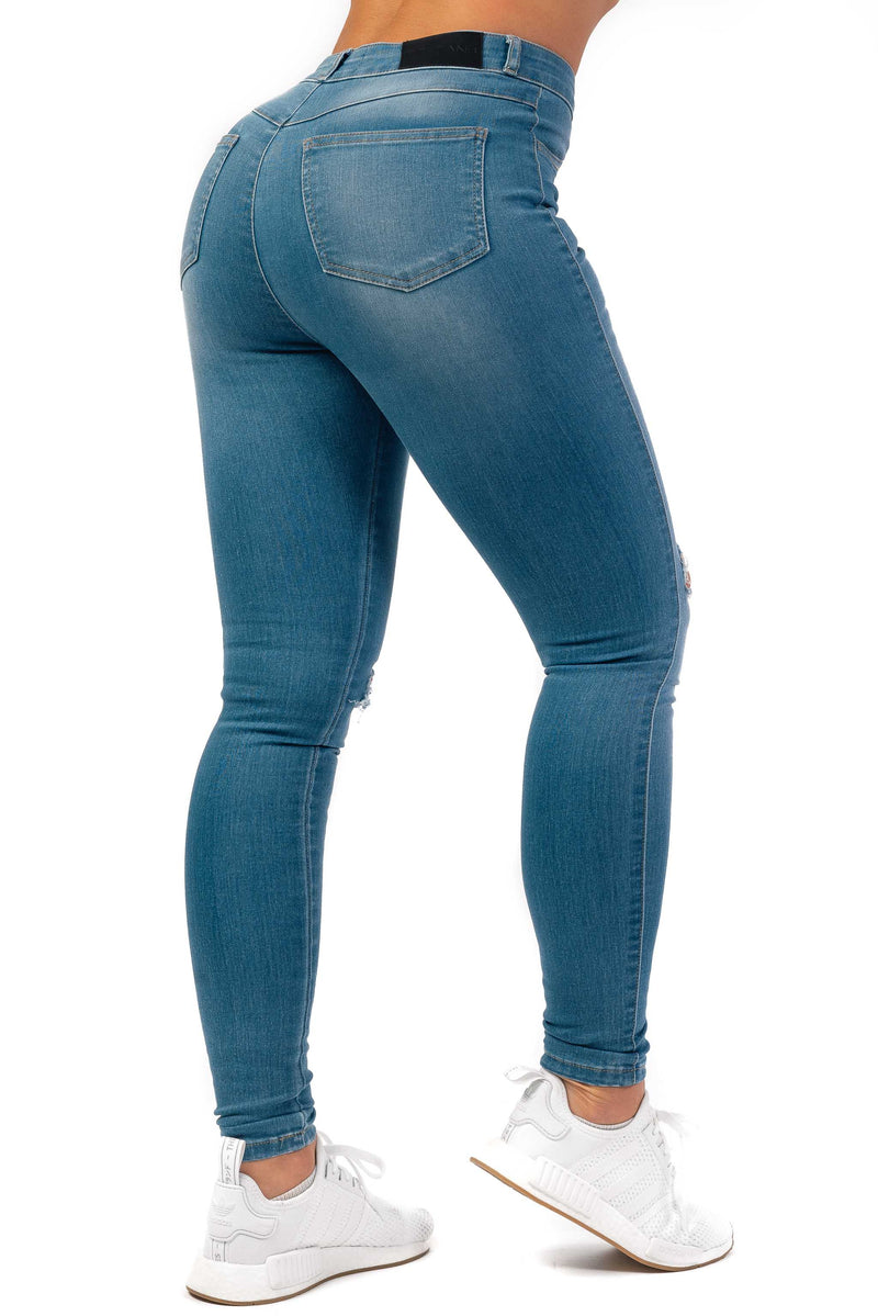 Womens Traditional Ripped High Waisted Fitjeans - Arctic Light Blue