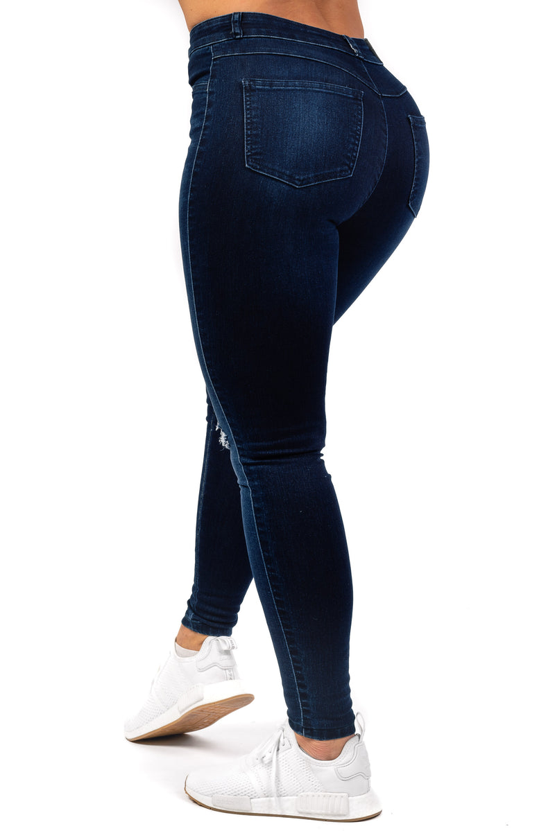 Womens Traditional Ripped High Waisted Fitjeans - Deep Indigo