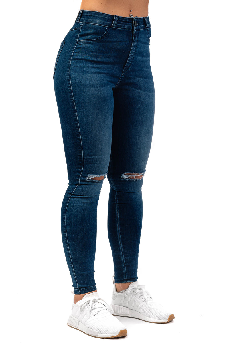 Womens Traditional Ripped High Waisted Fitjeans - Azure Blue