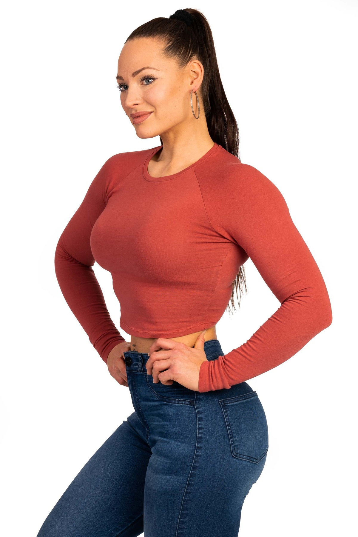 Womens Long Sleeve Crop Top - Pastel Port
