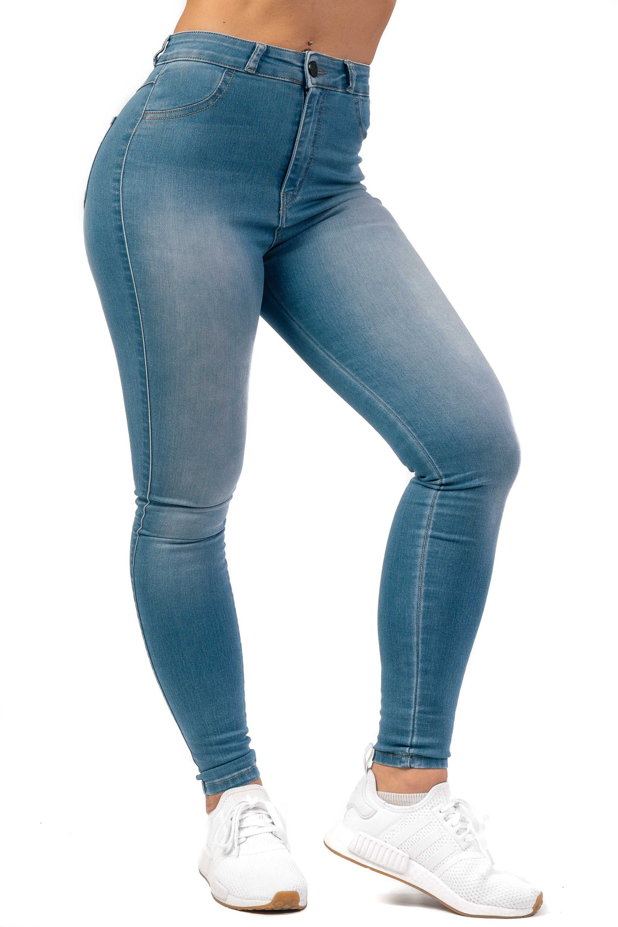 Womens Traditional High Waisted Fitjeans - Arctic Light Blue