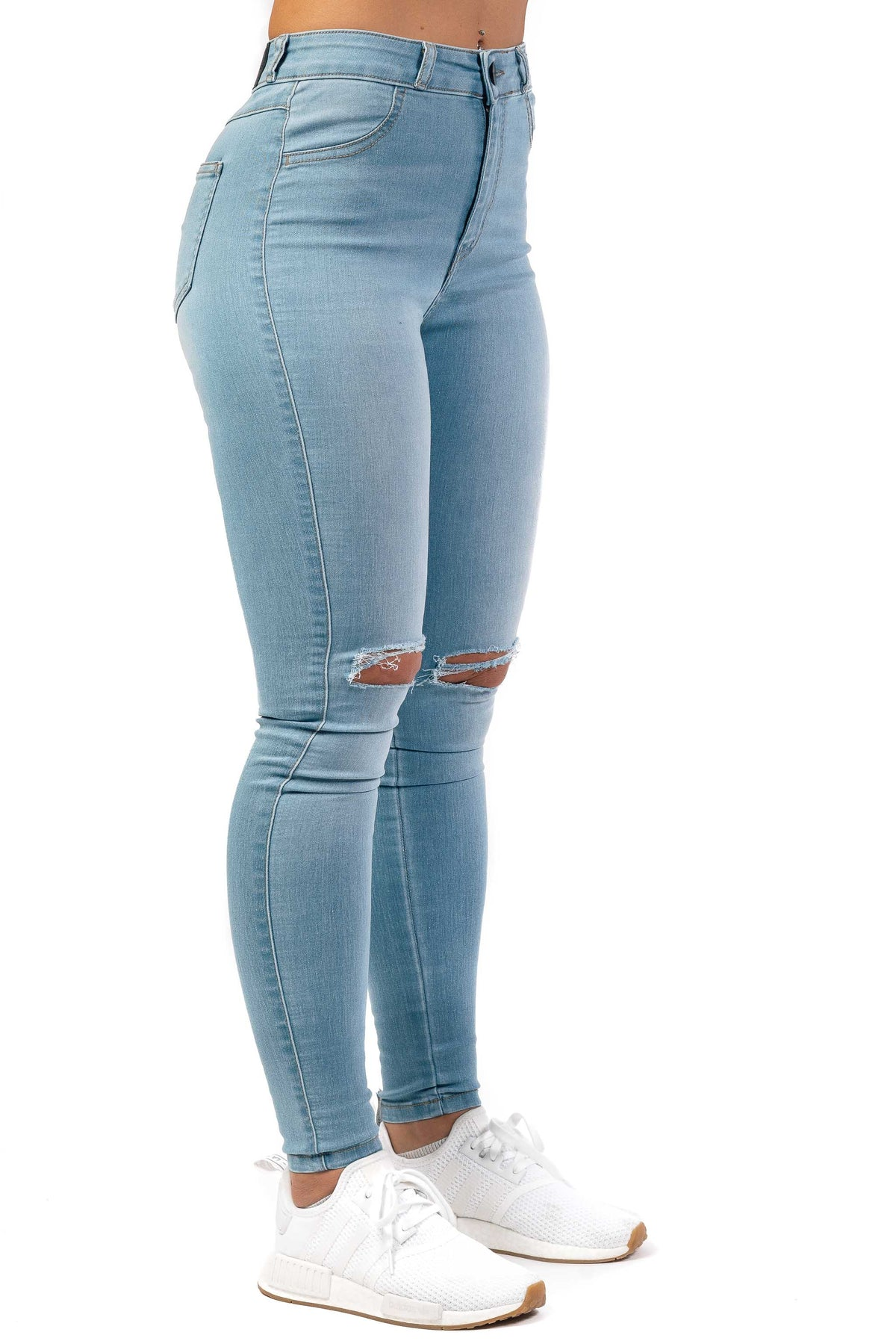 Womens Traditional Ripped High Waisted Fitjeans - Vintage Blue