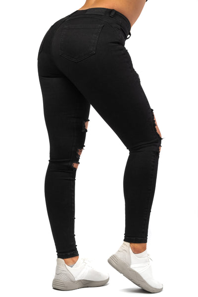 Womens Regular Super Ripped Mid Waisted Fitjeans - Black