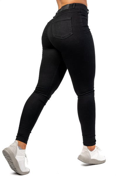Womens Regular High Waisted Fitjeans - Black