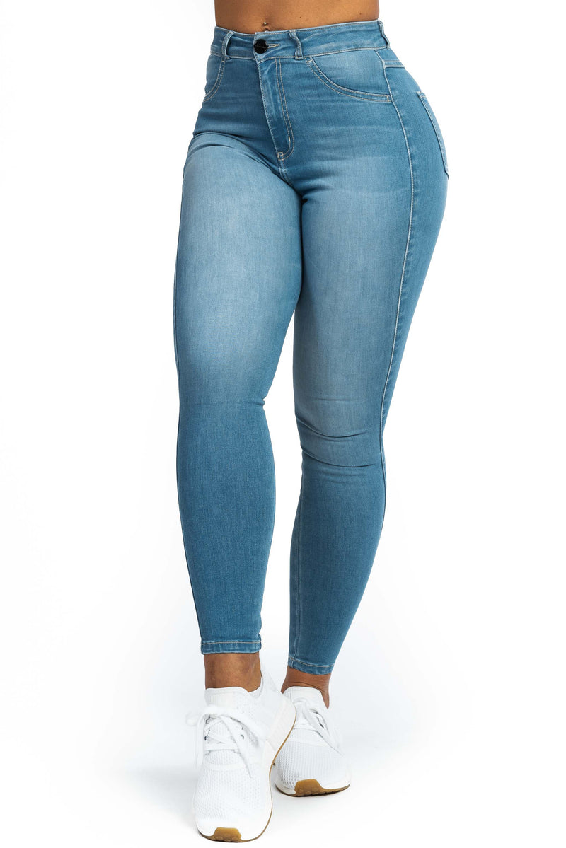 Womens Regular High Waisted Fitjeans - Bleach Blue