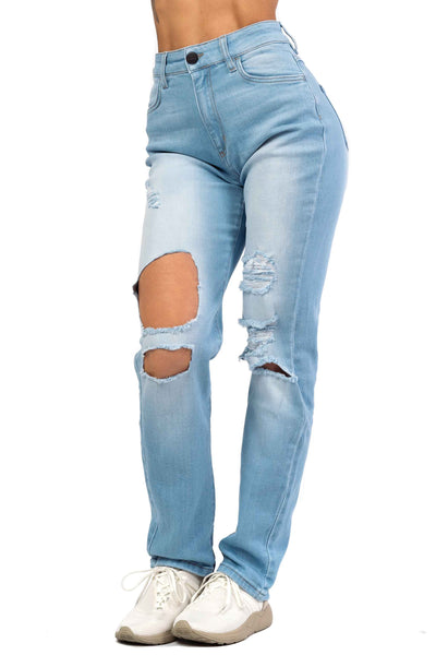 Womens High Waisted Super Ripped Mom Fitjeans - Vintage Blue