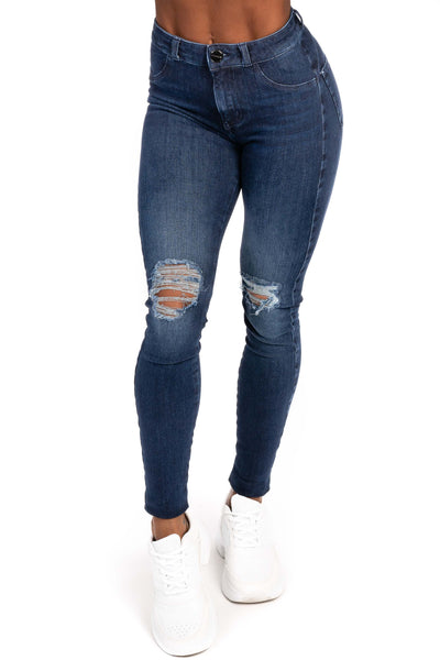 Womens Ripped 360 Fitjeans - Midnight Navy