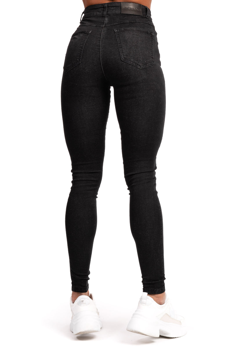 Womens High Waisted Stretch Chinos - Black