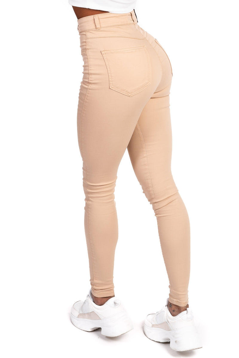 Womens High Waisted Stretch Chinos - Beige