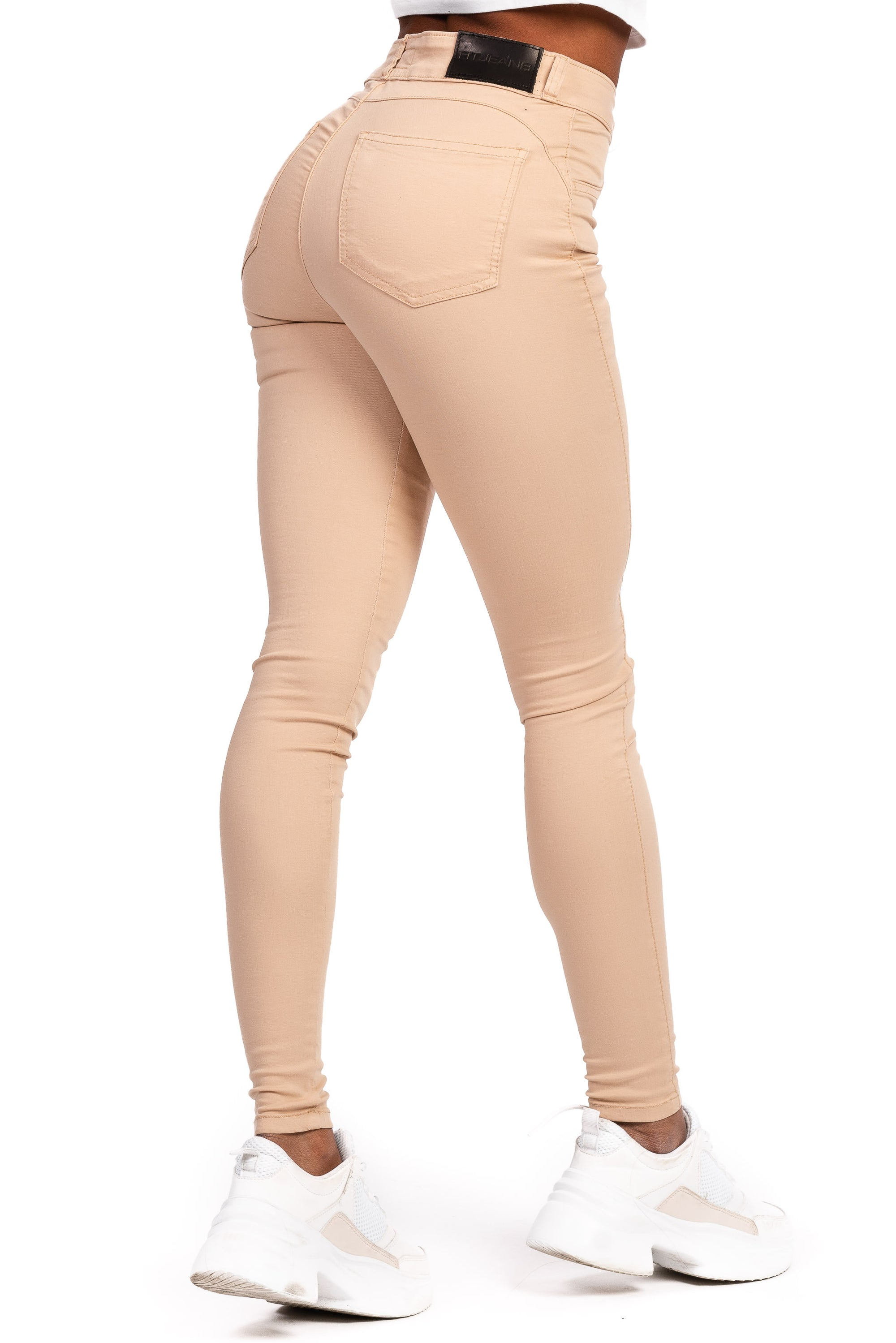 Womens Mid Waisted Stretch Chinos - Beige