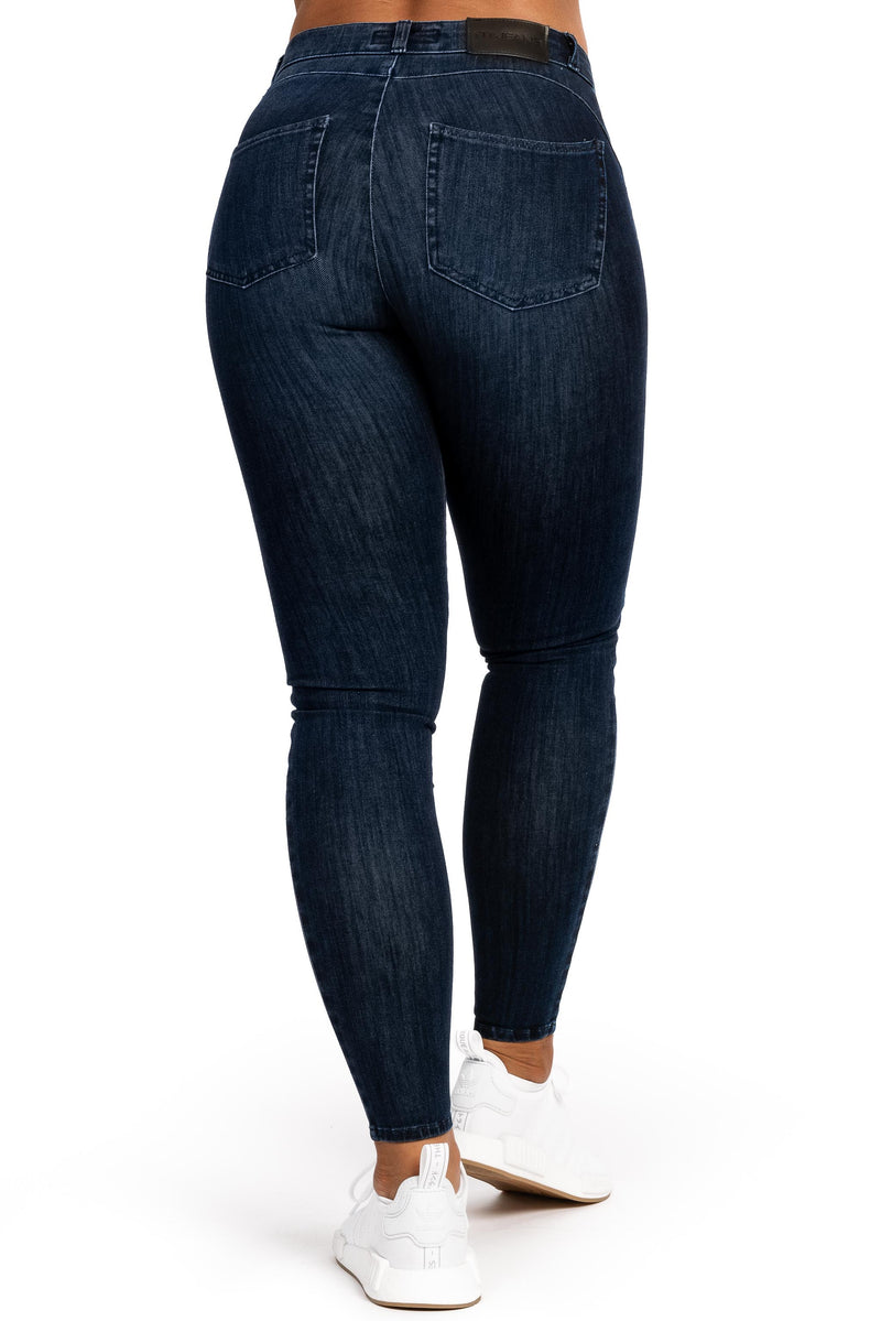 Womens 360 Mid Waisted Fitjeans - Midnight Navy