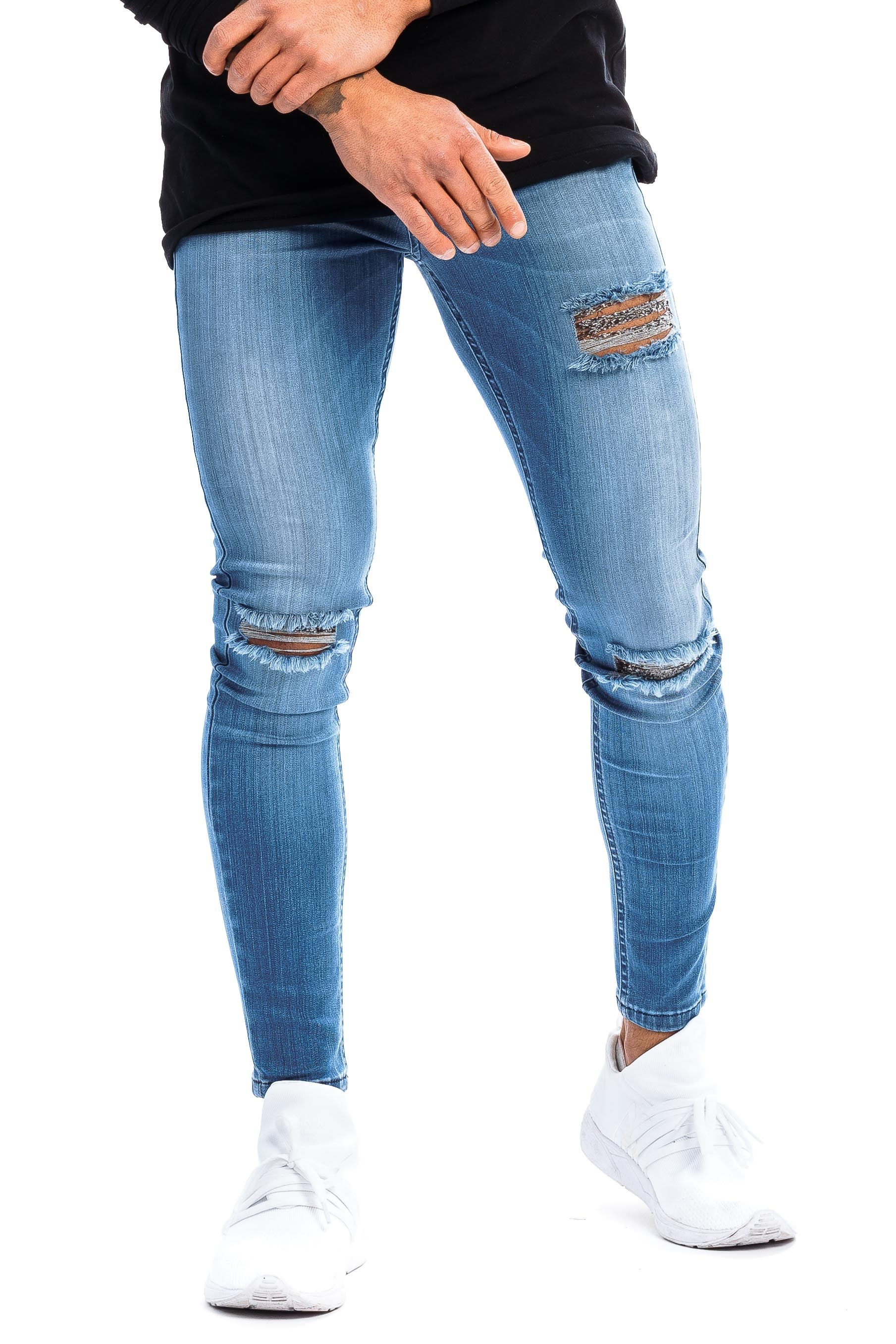 Mens Regular Ripped Fitjeans - Arctic Light Blue