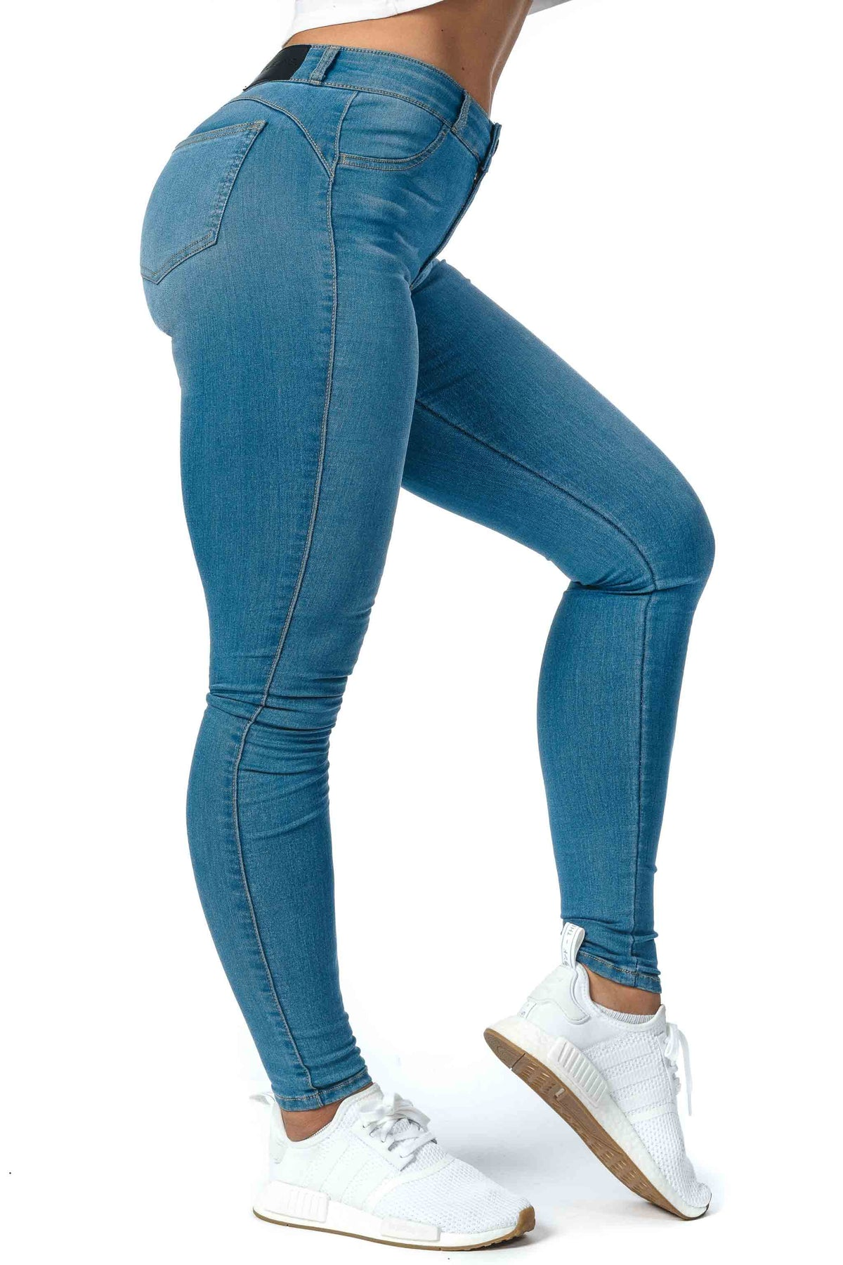 Womens Contour Mid Waisted Fitjeans - Arctic Light Blue