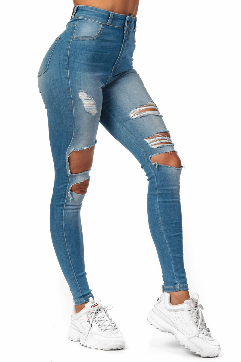 Womens Regular Super Ripped High Waisted Fitjeans - Arctic Light Blue