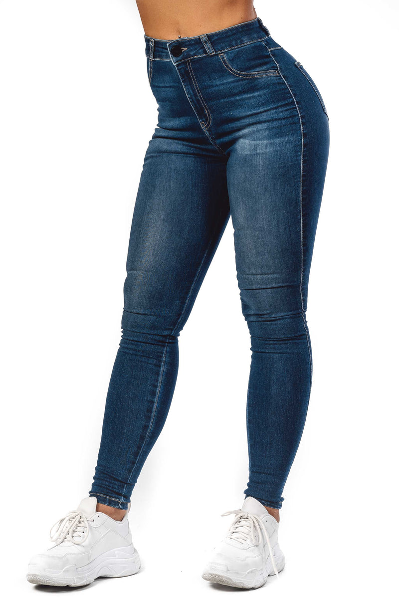 Womens Traditional High Waisted Fitjeans - Azure Blue