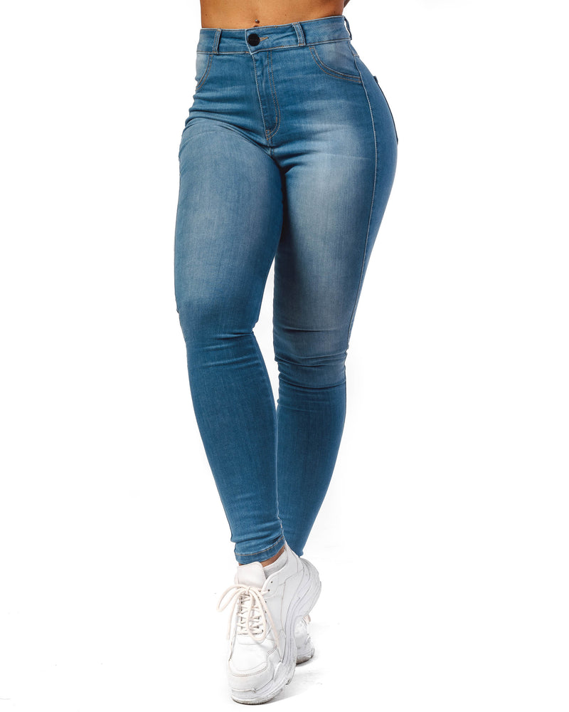 Womens Regular High Waisted Fitjeans - Arctic Light Blue