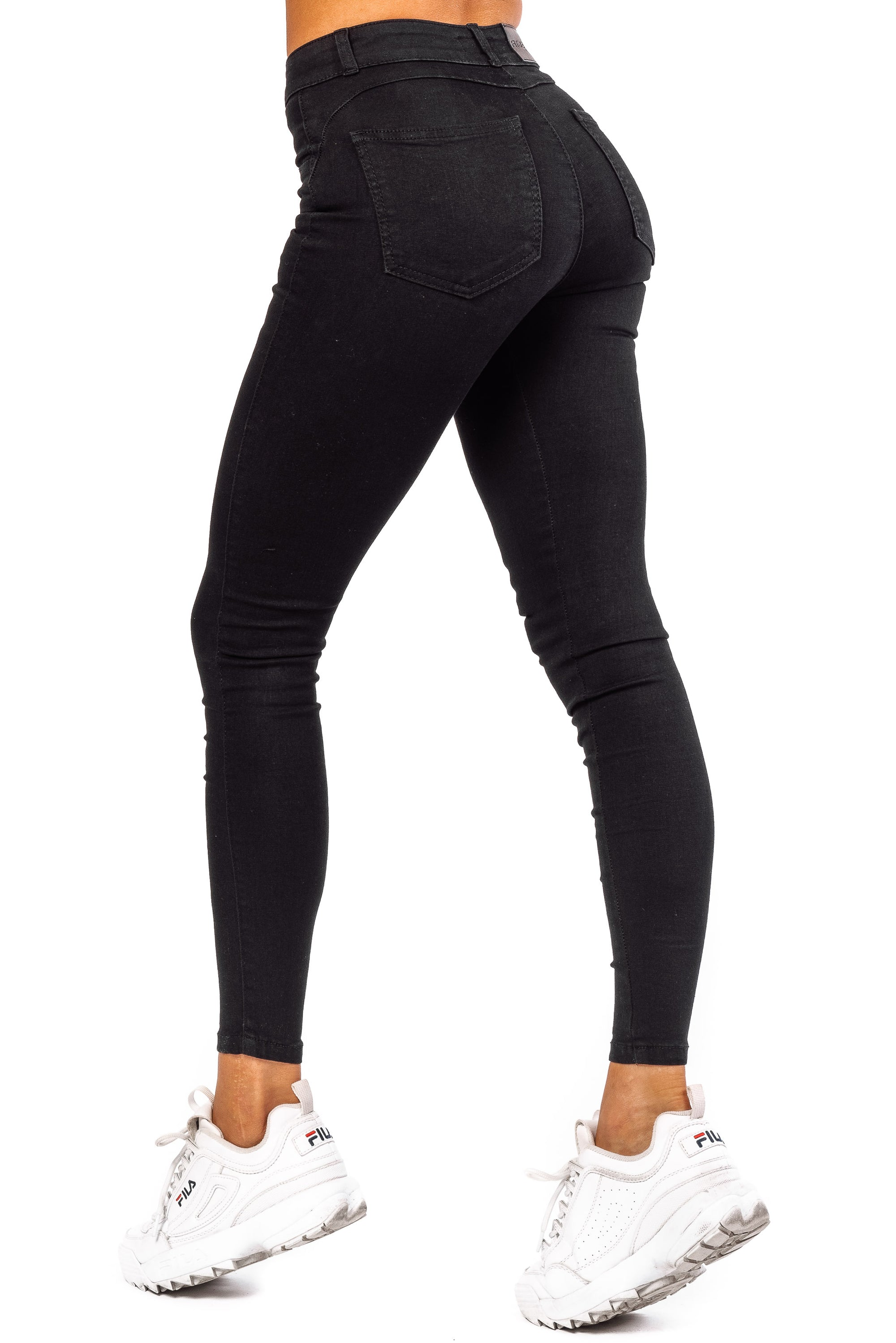 Womens Contour Mid Waisted Fitjeans - Black