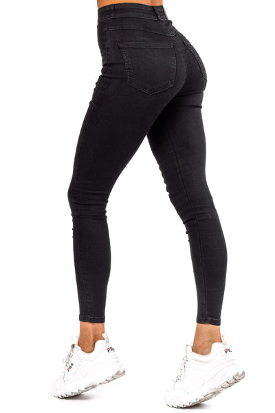Womens Contour High Waisted Fitjeans - Black