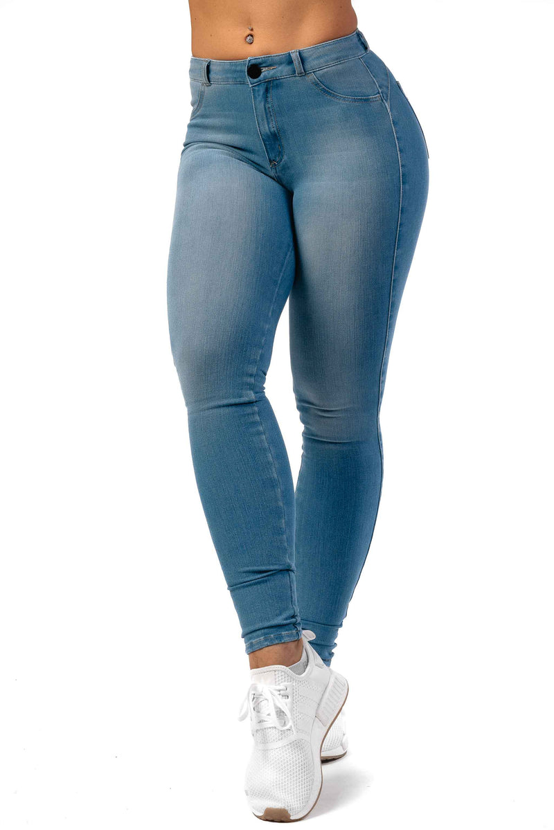 Womens 360 Mid Waisted Fitjeans - Arctic Light Blue