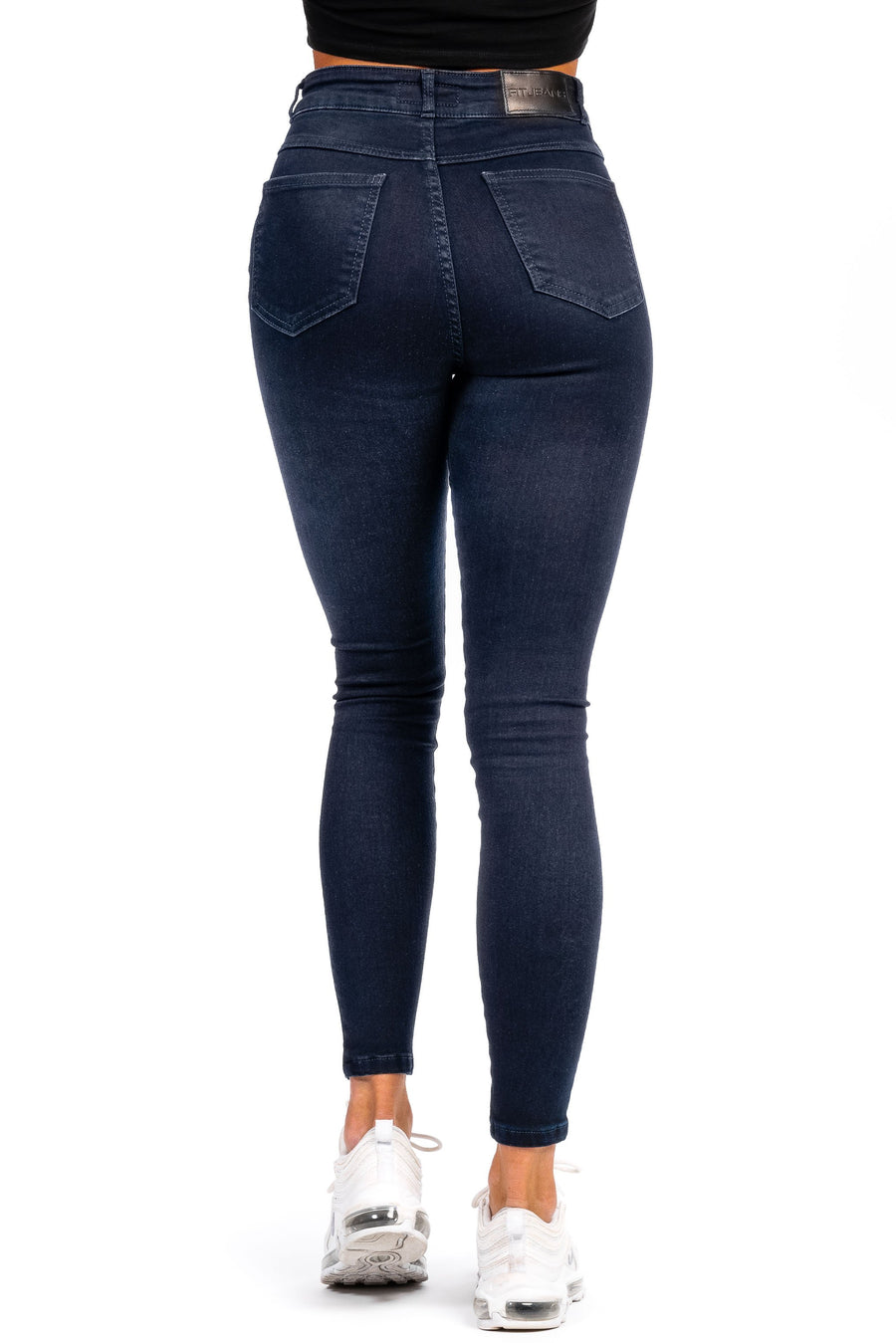 Womens Traditional High Waisted Fitjeans - Black Blue