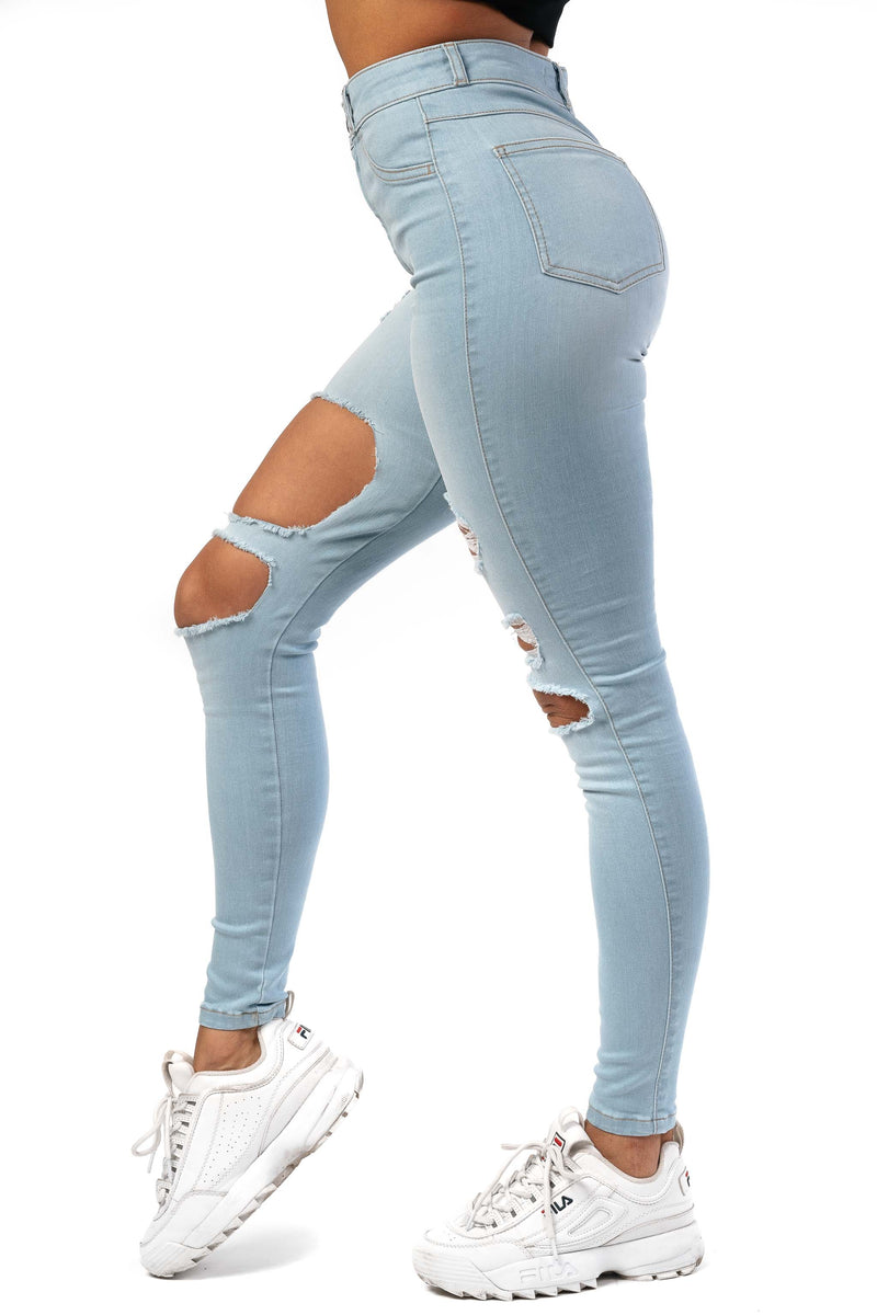 Womens Regular Super Ripped High Waisted Fitjeans - Vintage Blue