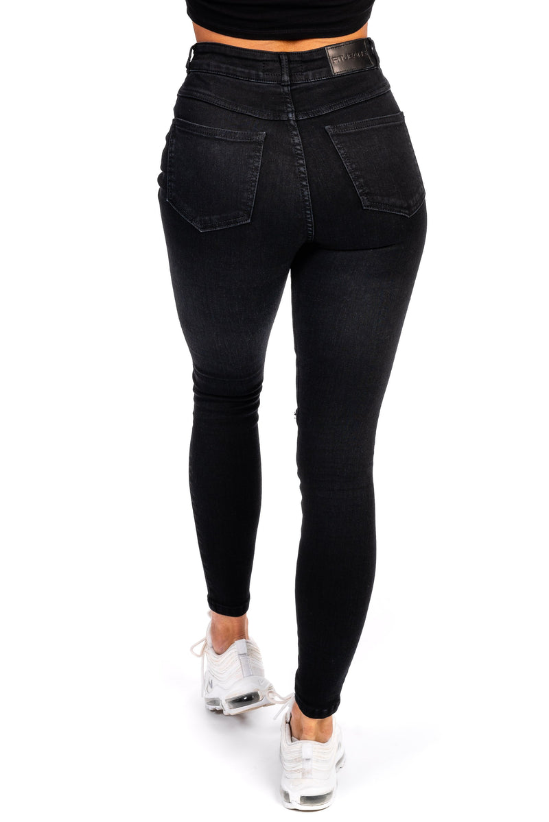 Womens Traditional Ripped High Waisted Fitjeans - Black