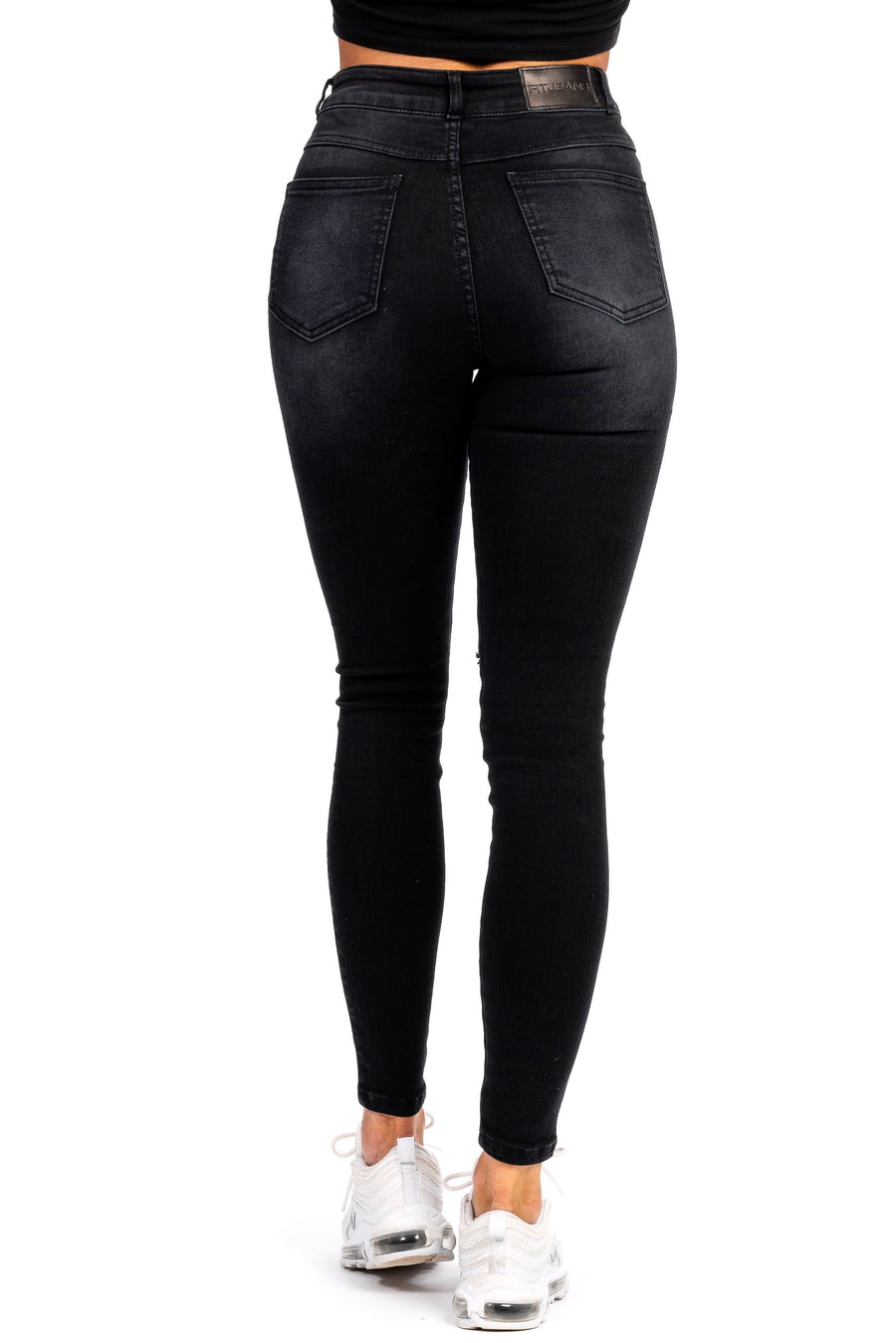 Womens Ripped Traditional High Waisted Fitjeans - Shaded Black