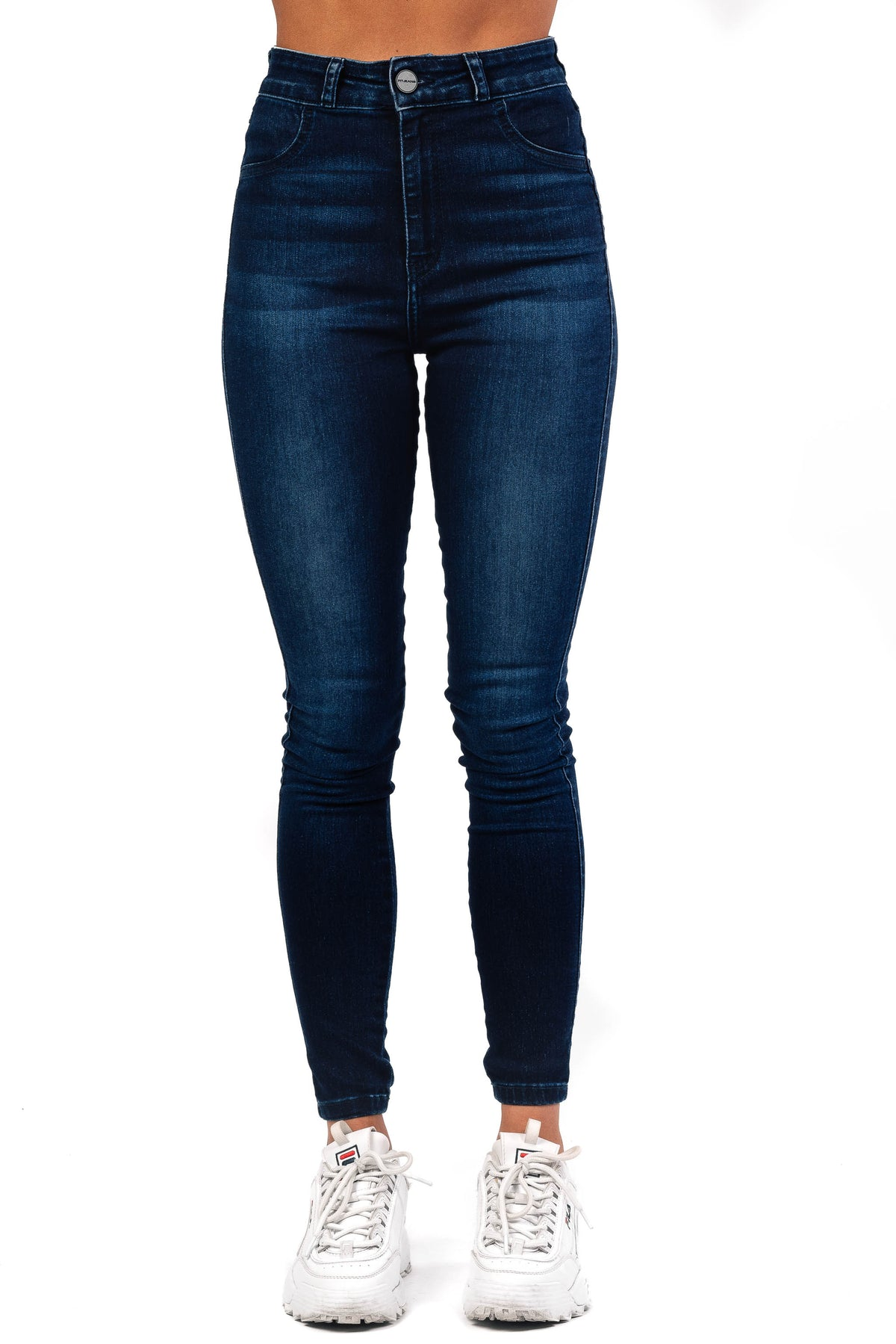 Womens Traditional High Waisted Fitjeans - Deep Indigo
