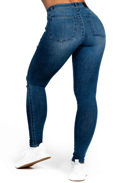 Womens Ripped 360 Fitjeans - Azure Blue