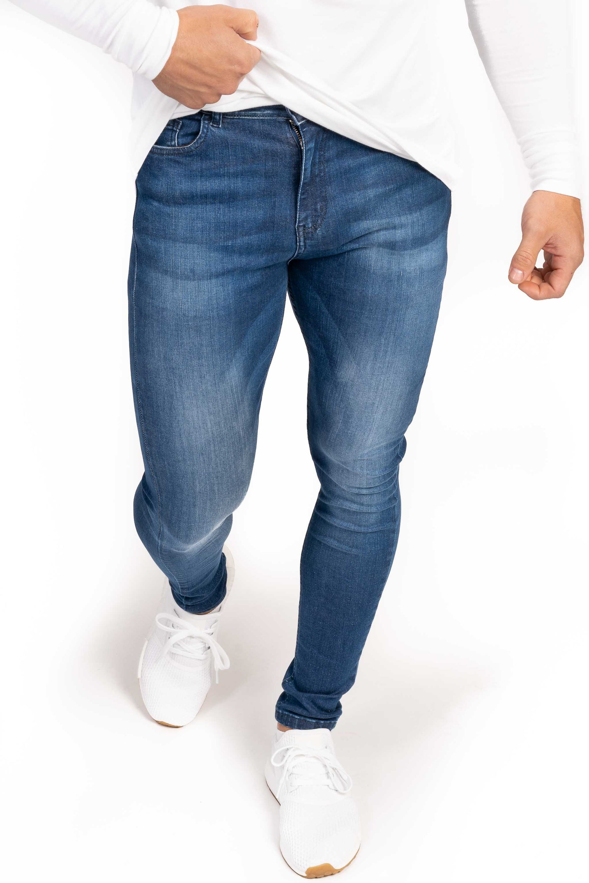 Mens Regular Fitjeans - Heavy Washed Blue