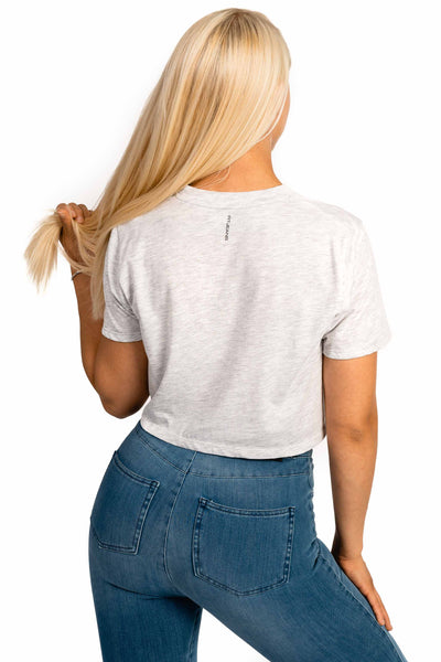 Womens Cropped T-Shirt - Grey Marl