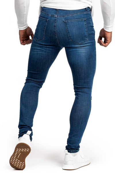 Mens Ripped Regular Fitjeans - Heavy Washed Blue
