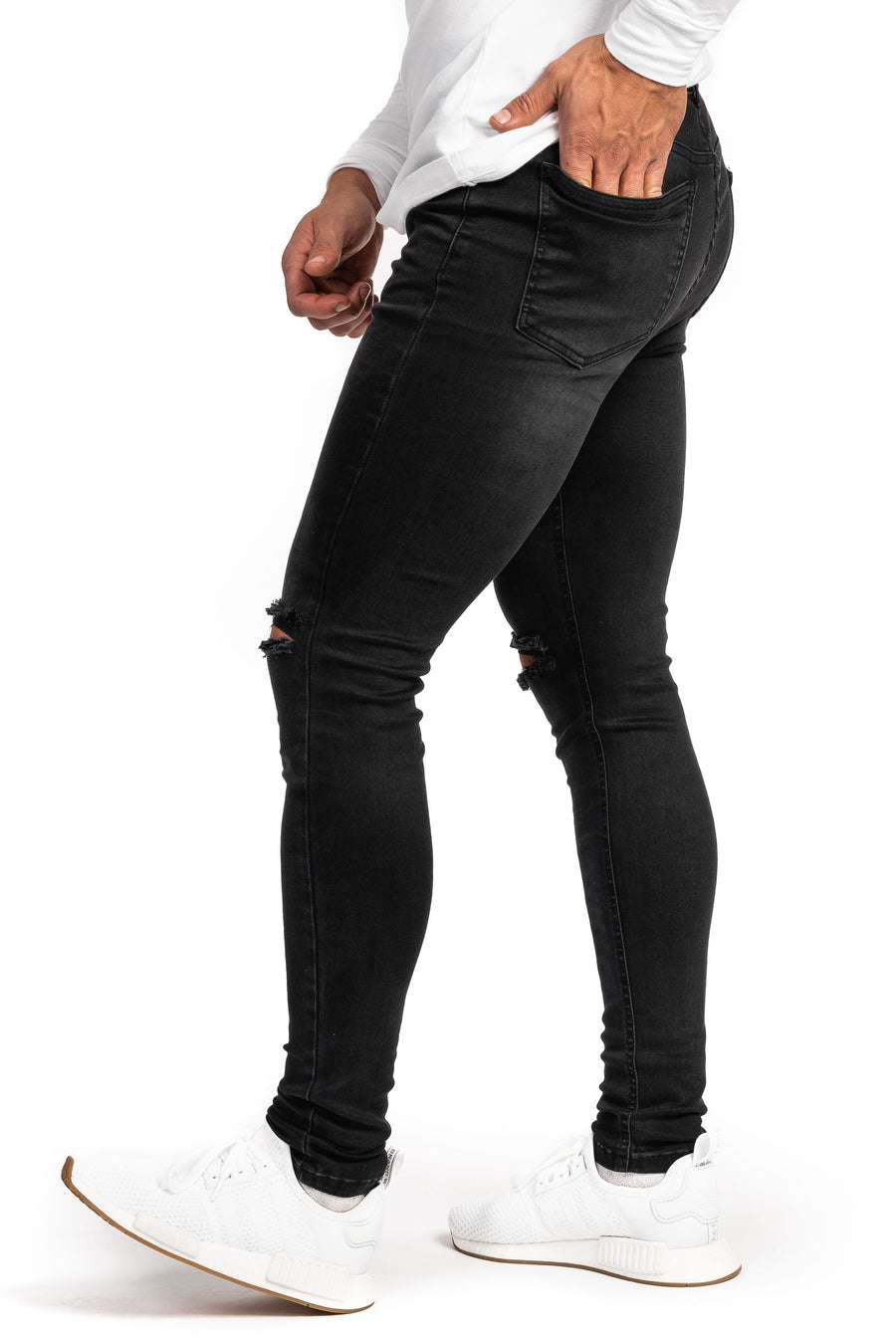 Mens Ripped 360 Fitjeans - Grey Shade