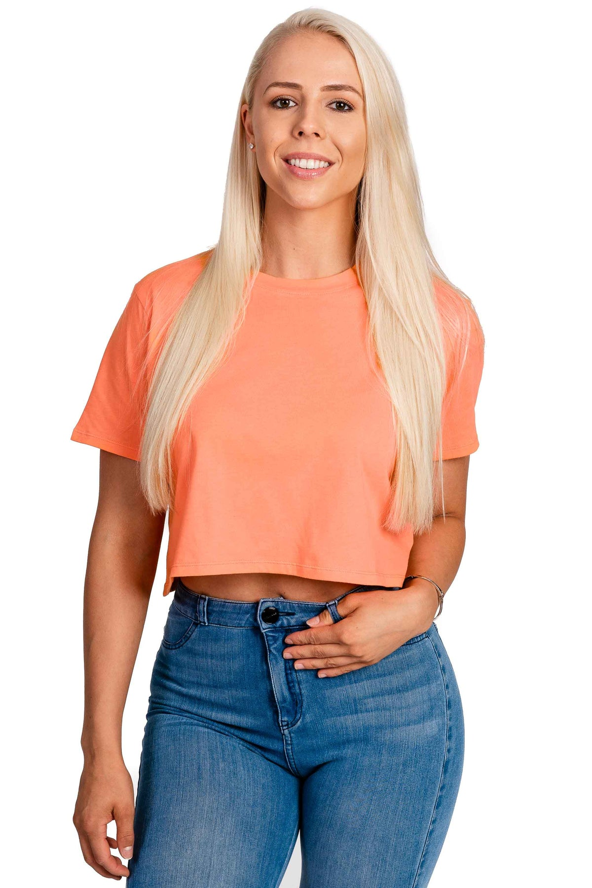 Womens Cropped T Shirt - Tangerine