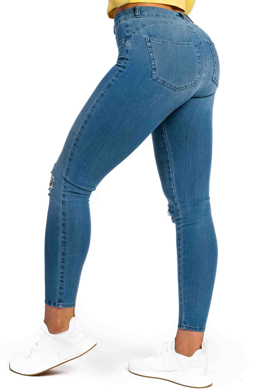 Womens Ripped 360 Fitjeans - Arctic Light Blue