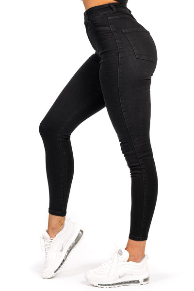 Womens Traditional High Waisted Fitjeans - Black