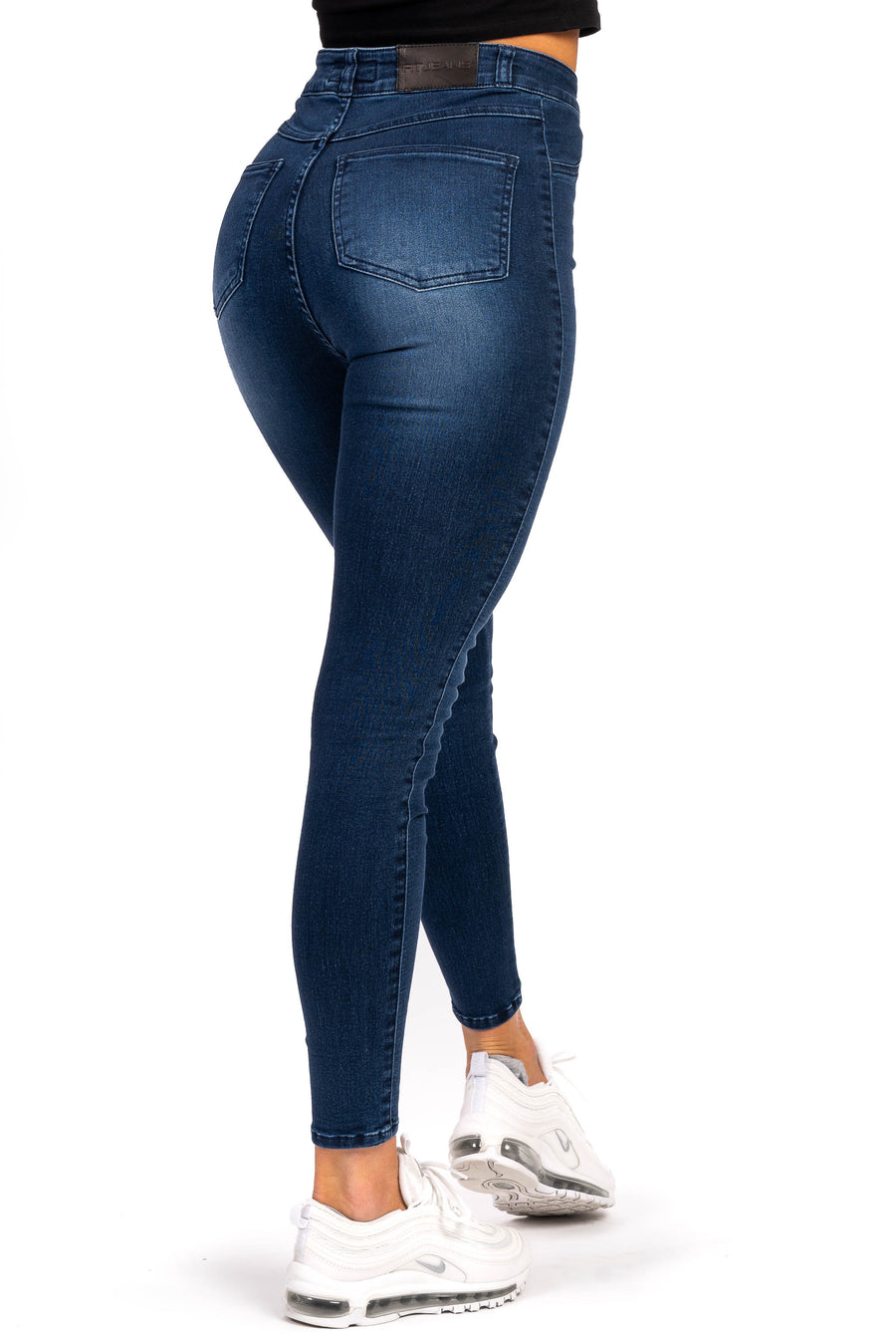 Womens Traditional High Waisted Fitjeans - Heavy Washed Blue